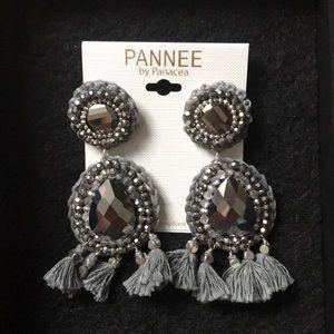 Pannee by Panacea Jewelry - Pannee by Panacea Silver Jewel Tassel Earrings
